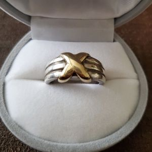 Jewelry - Sterling silver/ 14K solid yellow gold cross ring